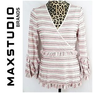 Max Studio Boho Blouse with Bell Sleeves & Ruffles